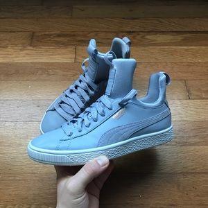 Women's Grey Leather Puma Basket Shoes